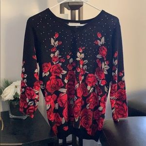 Black with red roses petite sweater